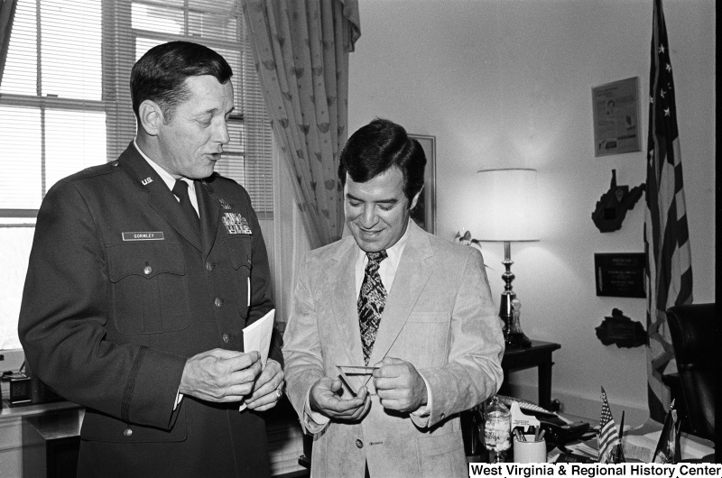 Congressman Rahall talks with U.S. military officer Gormley.