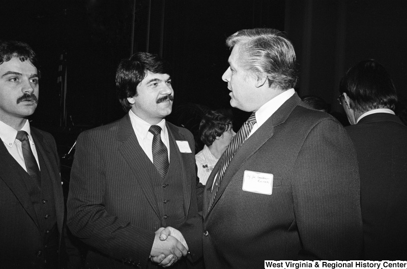 Joseph Kolter shakes hands with Richard Trumka.