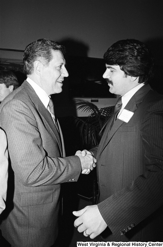 Gus Yatron shakes hands with Richard Trumka.