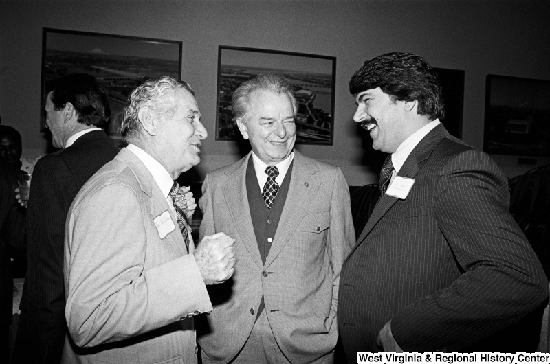 Photograph of Senator Robert C. Byrd, Congressman Abraham Kazen (TX), and Richard Trumka at an event