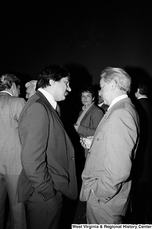 Photograph of Senator Robert C. Byrd and Richard Trumka at an event