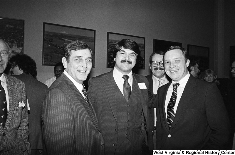 Photograph of Congressman Richard Durbin (IL), Richard Trumka, and other unidentified people
