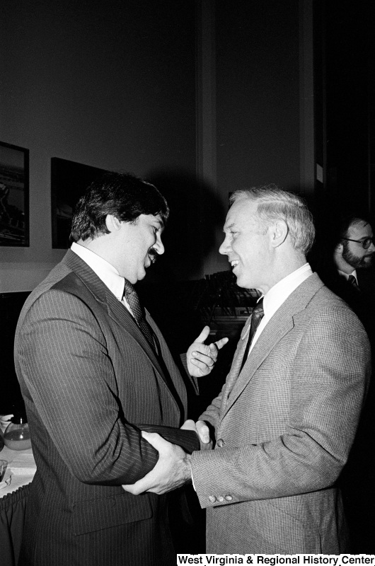 Photograph of Congressman James Oberstar (MN) and Richard Trumka at an event