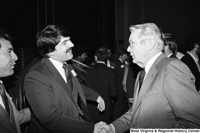 Photograph of Representative Nick Rahall, Richard Trumka, and an unidentified person