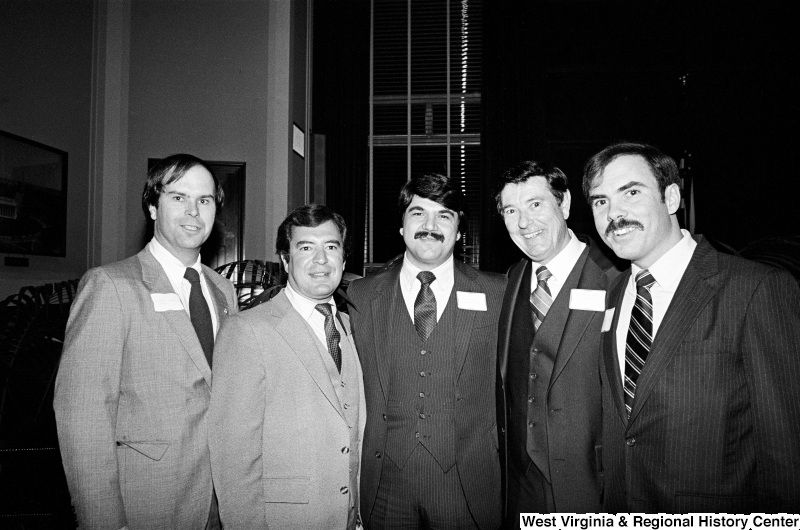 Photograph of Representative Nick Rahall with Richard Trumka and Congressmen Harley O. Staggers, Jr. (WV), Austin Murphy (PA), and Robert Wise (WV)