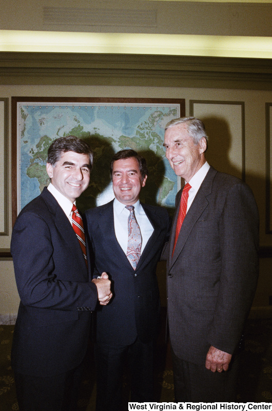 Photograph of Congressman Nick Rahall with two unidentified Senators