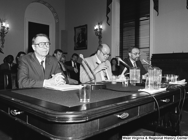 Photograph of unidentified speakers at a committee hearing