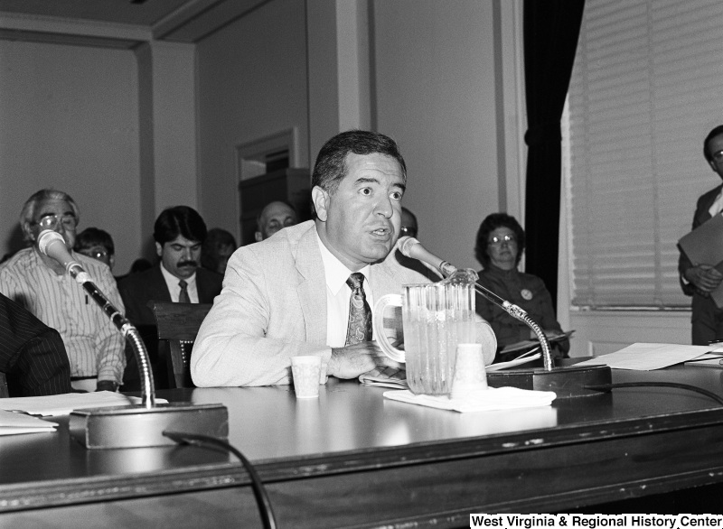 Photograph of Congressman Nick Rahall speaking at an unidentified committee meeting