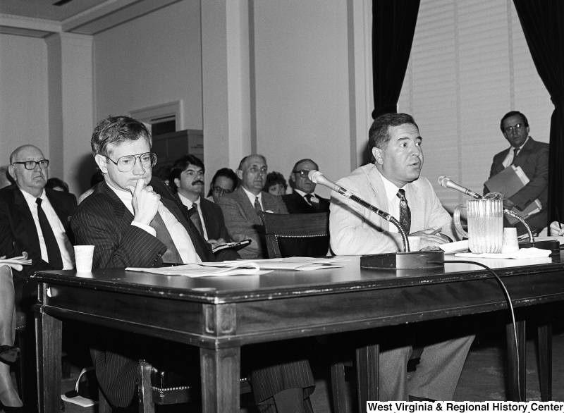 Photograph of Congressman Nick Rahall and others at a committee hearing