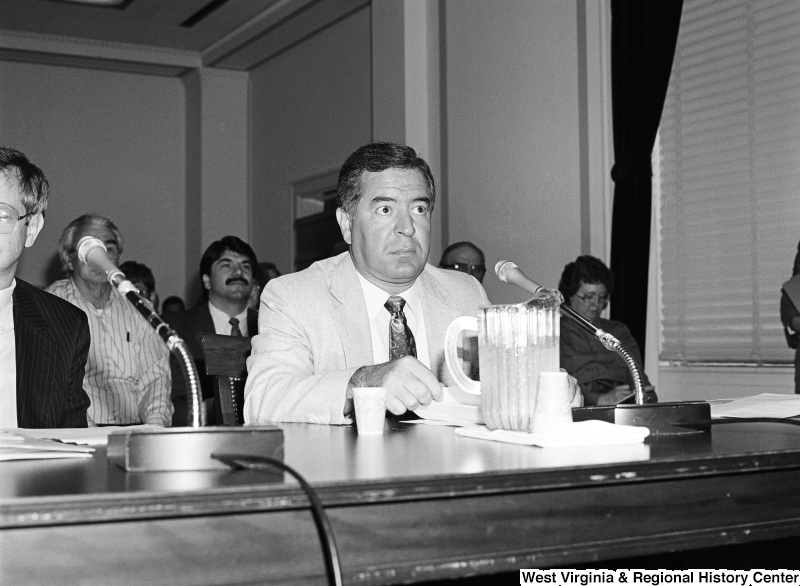 Photograph of Congressman Nick J. Rahall at an unidentified hearing