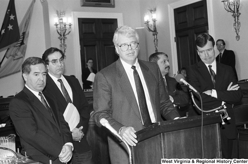 Photograph of Congressmen Nick Rahall, George Miller, Bruce Vento (MN), Peter Kostmayer (PA), and Sam Gejdenson (CT)