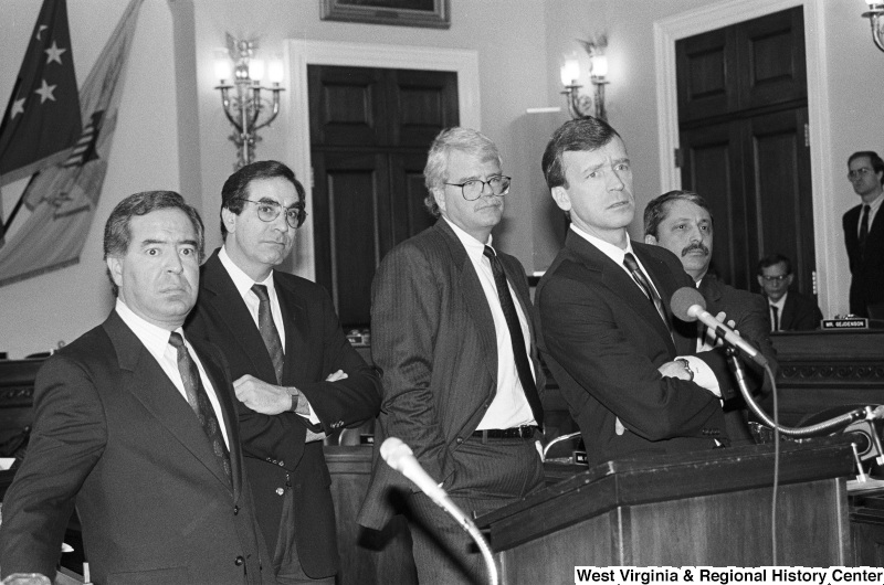 Photograph of Congressmen Nick Rahall, George Miller, Bruce Vento (MN), Peter Kostmayer, and Sam Gejdenson