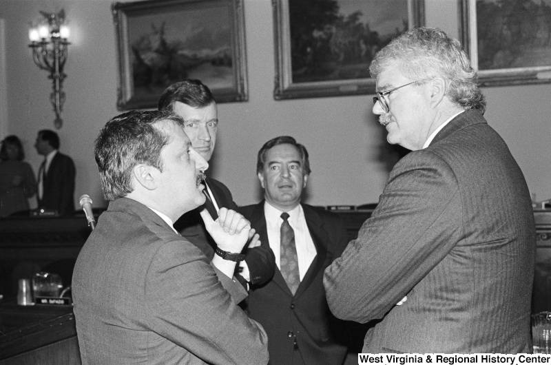 Photograph of Congressmen Nick Rahall, George Miller, Sam Gejdenson, and Peter Kostmayer at a hearing