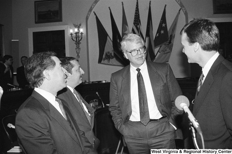 Photograph of Congressmen Nick Rahall, George Miller, Peter Kostmayer, and Sam Gejdenson at a hearing