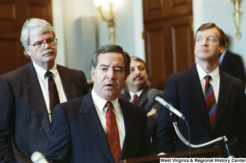 Photograph of Congressmen Nick Rahall, George Miller, and Peter Kostmayer at an unidentified hearing