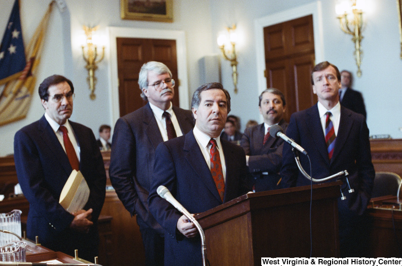 Photograph of Congressmen Nick Rahall (WV), George Miller (WV), Bruce Vento, Sam Gejdenson, and Peter Kostmayer at an unidentified hearing