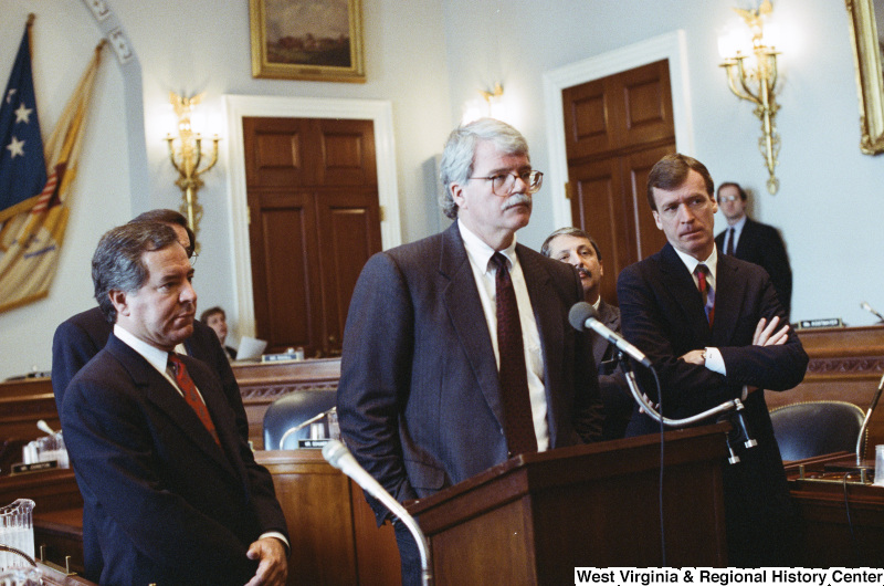 Photograph of Congressmen Peter Kostmayer, Nick Rahall, and George Miller at a hearing