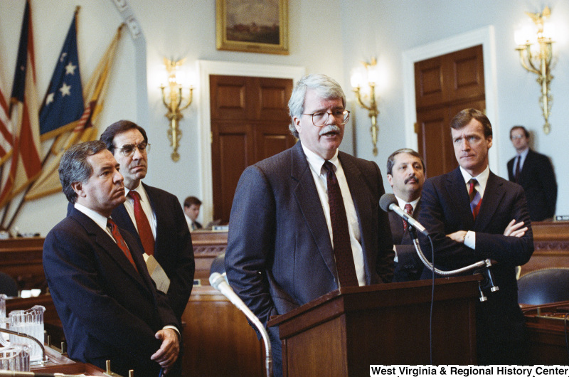 Photograph of Congressmen Peter Kostmayer, Nick Rahall, Bruce Vento, George Miller, and Sam Gejdenson at a hearing