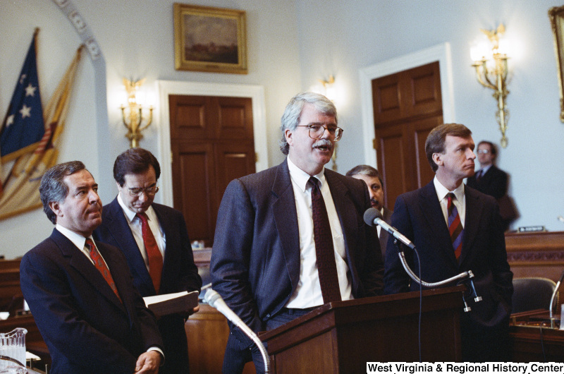 Photograph of Congressmen George Miller, Nick Rahall, Bruce Vento, and Peter Kostmayer at a hearing