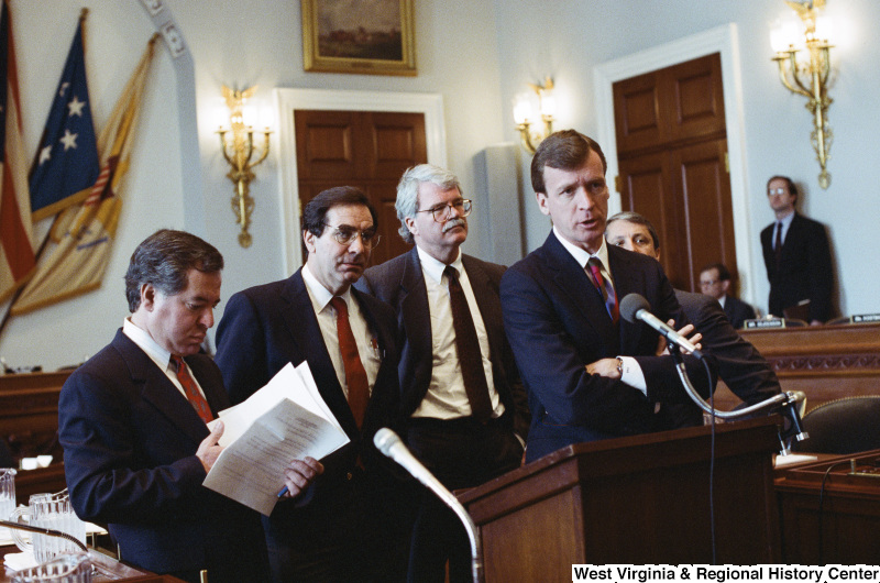 Photograph of Congressmen Nick Rahall, George Miller, Peter Kostmayer, and Bruce Vento at an unidentified hearing