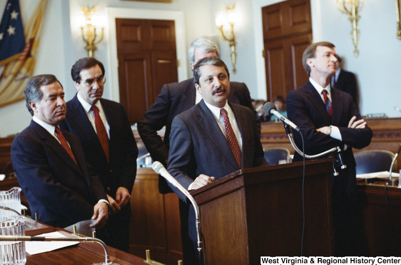 Photograph of Congressmen Nick Rahall, George Miller, Bruce Vento, Sam Gejdenson, and Peter Kostmayer (PA) at a hearing