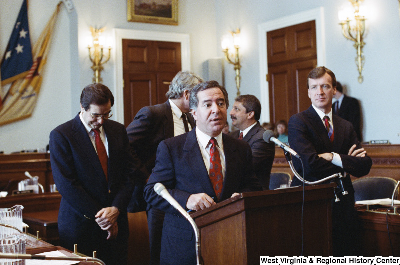 Photograph of Congressman Nick Rahall speaking at a hearing