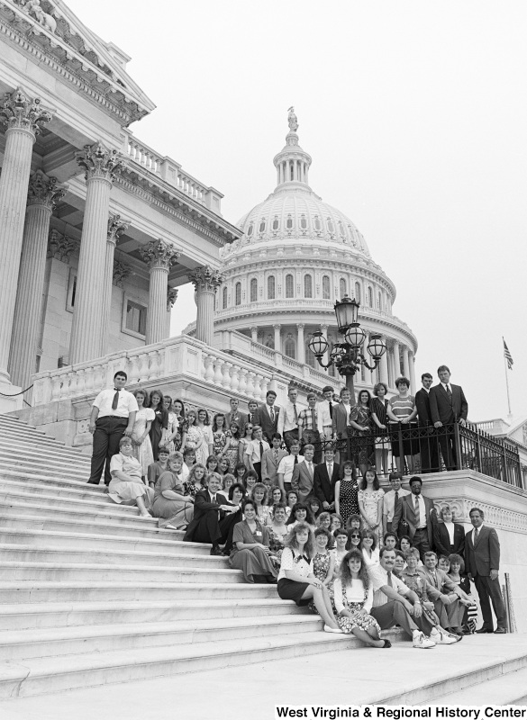 Photograph of Congressman Nick Rahall with an unidentified group at the Capitol
