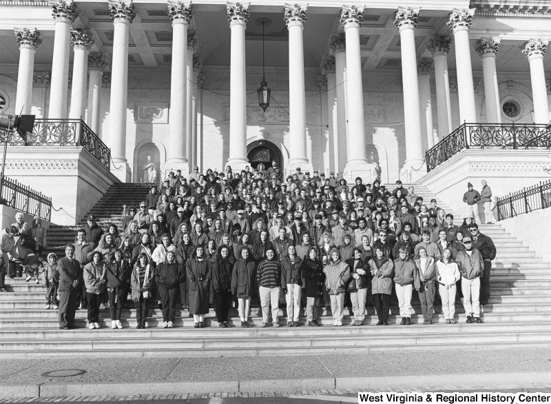 Photograph of Congressman Nick Rahall with an unidentified school (?) group