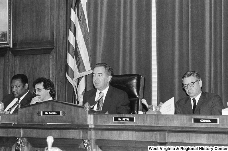Photograph of Congressmen Nick Rahall and Thomas Petri at an unidentified hearing