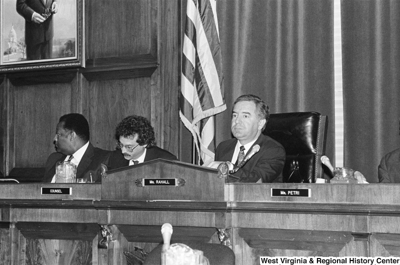Photograph of Congressman Nick Rahall and others at an unidentified hearing