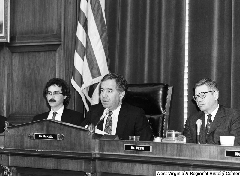 Photograph of Congressmen Nick Rahall and Thomas Petri at a hearing