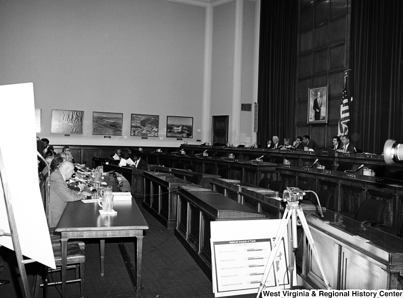 Photograph of unidentified people at an unidentified committee/board hearing