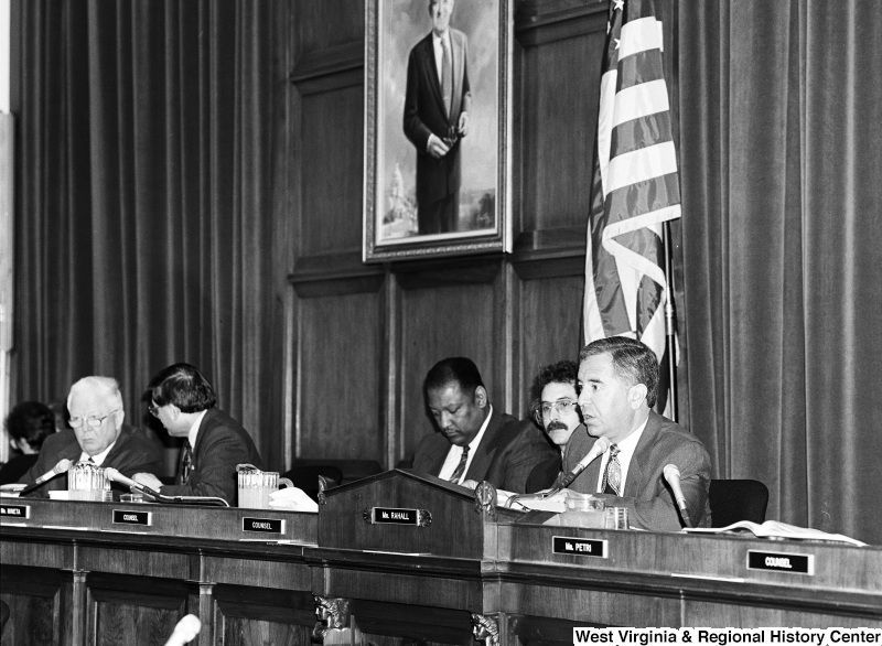 Photograph of Congressman Nick Rahall speaking at an unidentified committee hearing