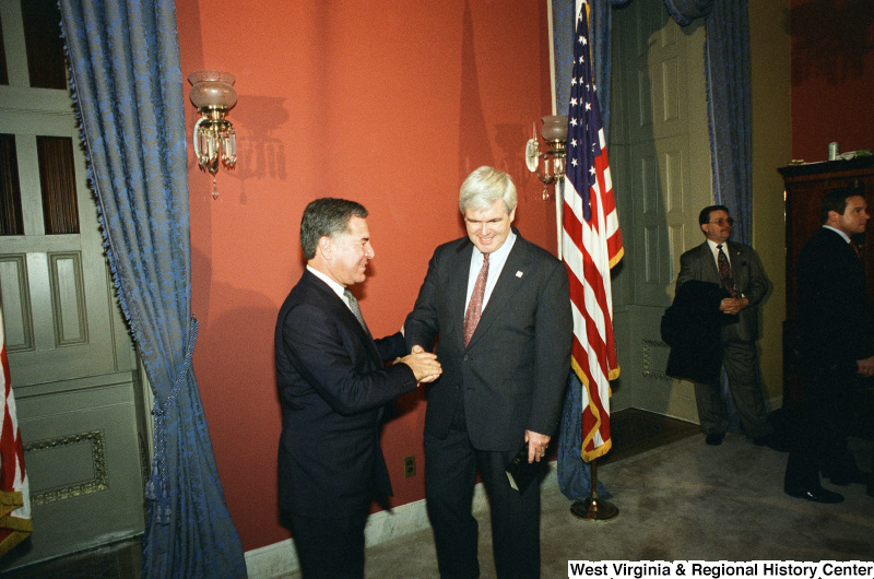 Photograph of Congressman Nick Rahall and Newt Gingrich at the 104th Congress Speaker of the House Ceremonial Swearing-in
