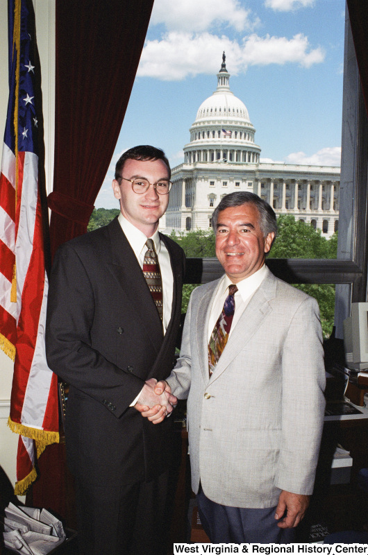 Photograph of an unidentified visitor with Congressman Nick Rahall