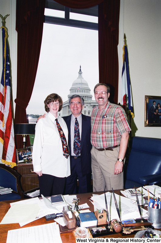 Photograph of two unidentified visitors to Congressman Nick Rahall's office