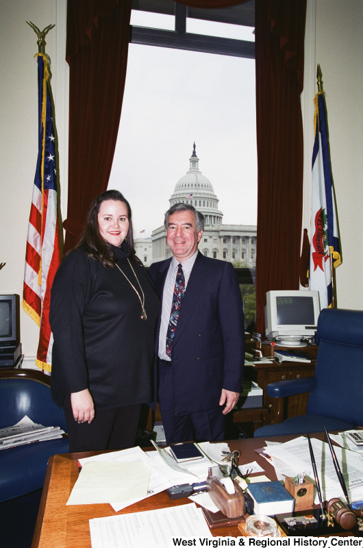 Photograph of Congressman Nick Rahall with an unidentified visitor to his office