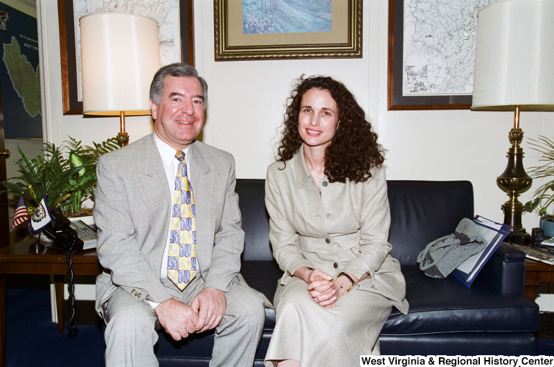 Photograph of Congressman Nick Rahall and Actress Andie MacDowell