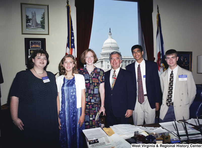 Photograph of Congressman Nick Rahall with students from the American Association of Christian Schools