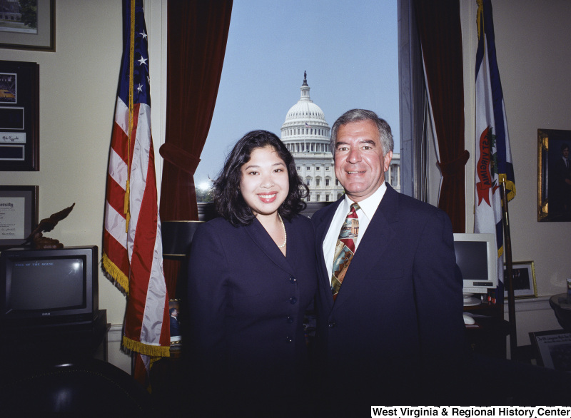 Photograph of an unidentified visitor and Congressman Nick Joe Rahall