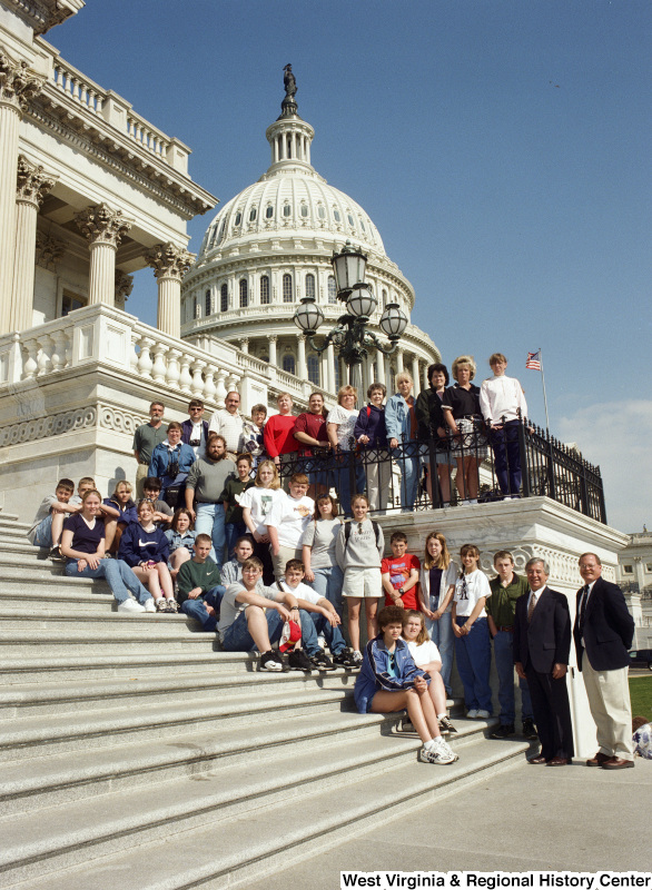 Photograph of a group of unidentified students from an unknown school with Congressman Nick Rahall