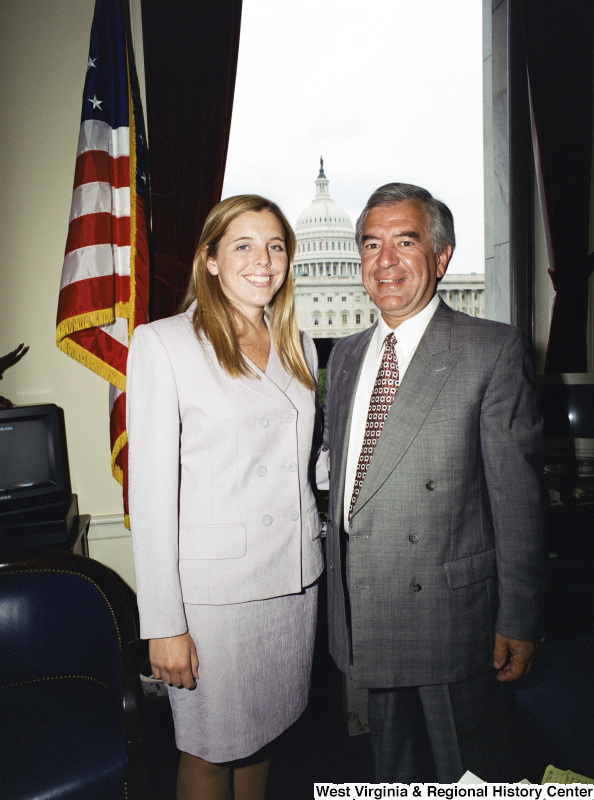 Photograph of Congressman Nick Rahall and an unidentified visitor in his Washington office