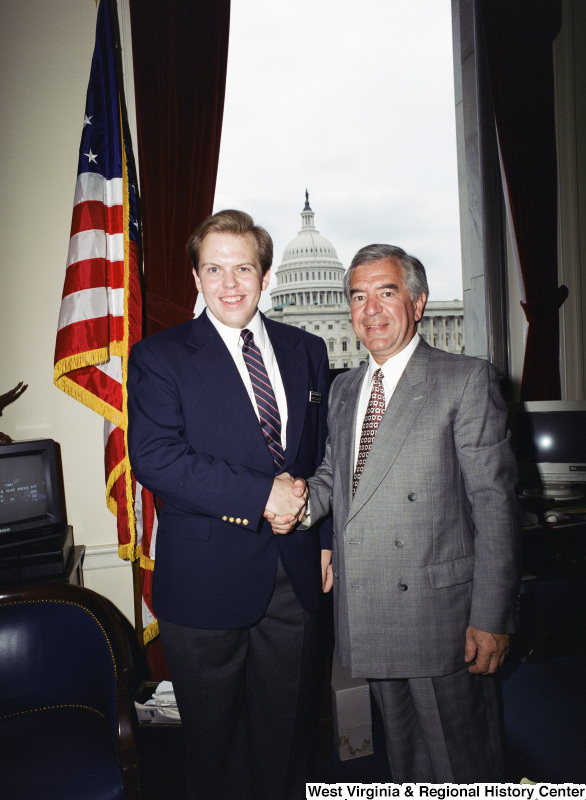 Photograph of Congressman Nick J. Rahall with an unidentified visitor to his Washington, D.C. office