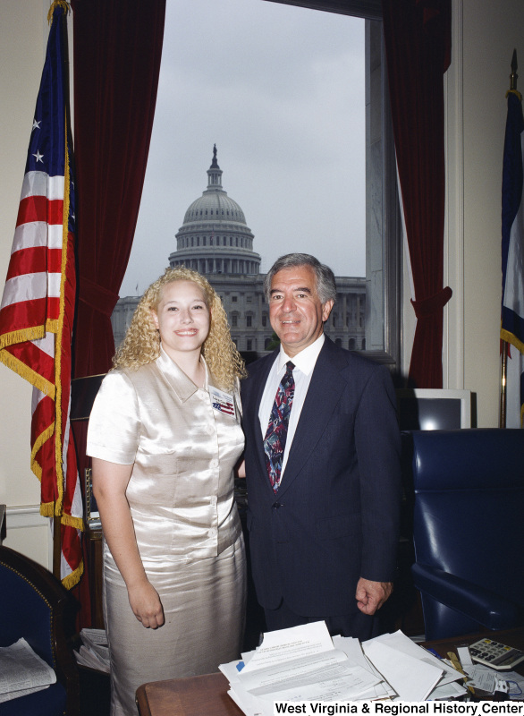 Photograph of Presidential Classroom Candidate Laura Cantley with Congressman Nick Rahall