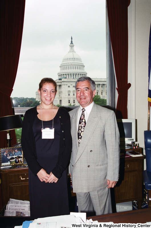 Photograph of Congressman Nick Rahall with Christie Miller from Union, West Virginia