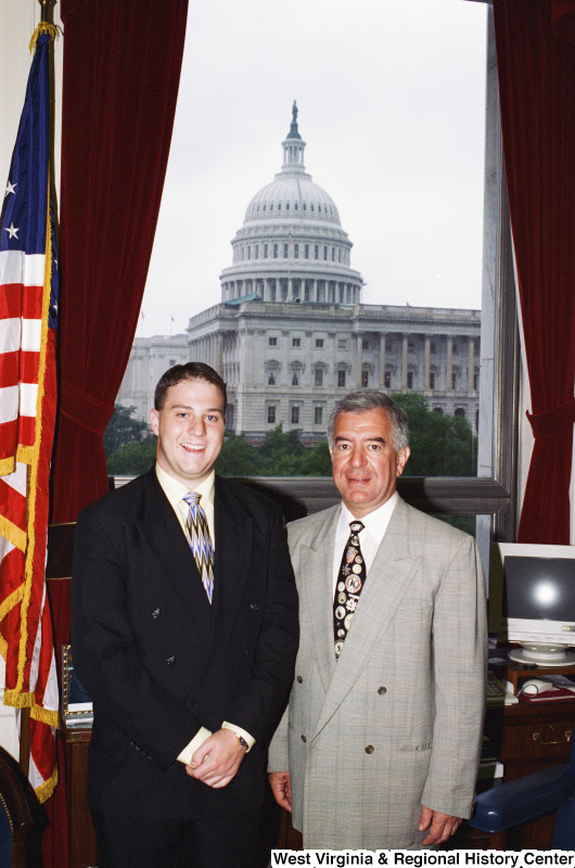 Photograph of an unidentified male visitor to Congressman Nick Rahall's office
