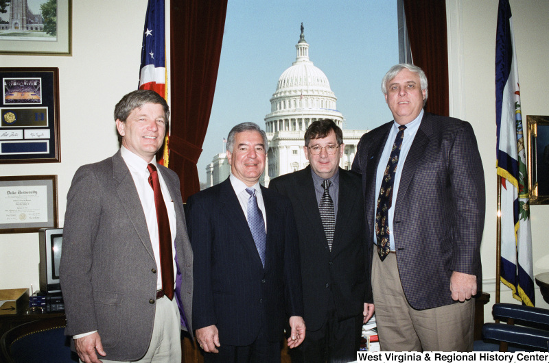 Photograph of Congressman Nick Rahall with Jim Justice and others