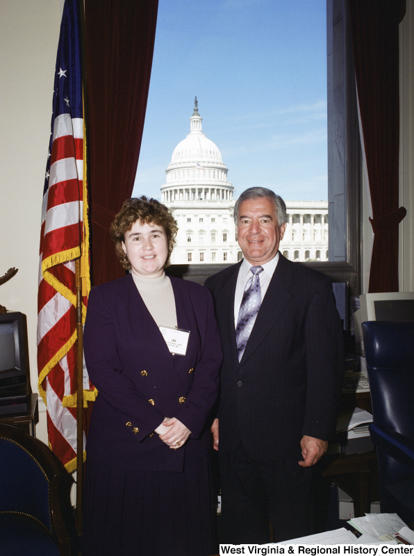Photograph of Congressman Nick Rahall with Jo Ann Betler, RPR