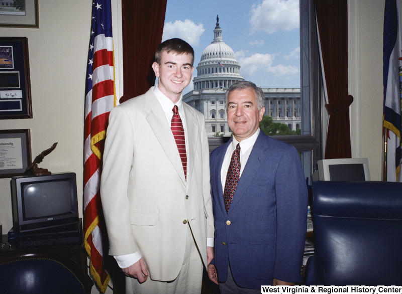 Photograph of Congressman Nick Rahall with an unidentified visitor in his office