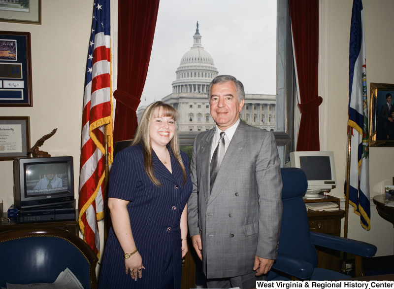 Photograph of Congressman Nick Rahall in his Washington office with an unknown visitor